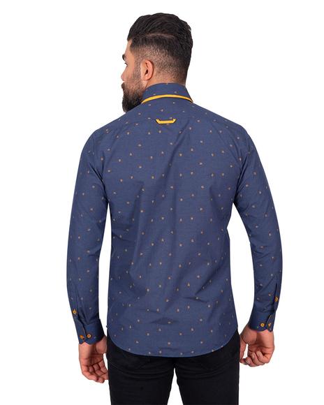MAKROM - Luxury Polka Dot Printed Long Sleeved Double Collar Mens Shirt SL 6816 (1)
