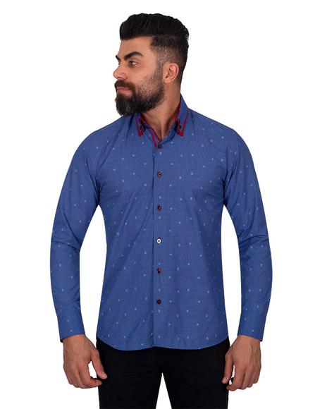 MAKROM - Luxury Polka Dot Printed Long Sleeved Double Collar Mens Shirt SL 6816 (Thumbnail - )