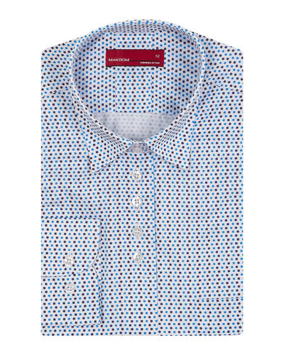 MAKROM - Luxury Polka Dot Printed Womens Shirt LL 3310