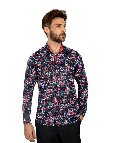 MAKROM - Luxury Printed Long Sleeved Mens Shirt SL 7081 (1)