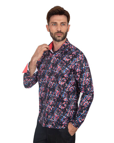 MAKROM - Luxury Printed Long Sleeved Mens Shirt SL 7081