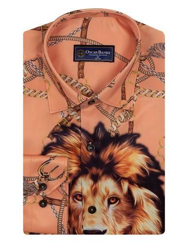 Luxury Printed Long Sleeved Satin Mens Shirt SL 6934