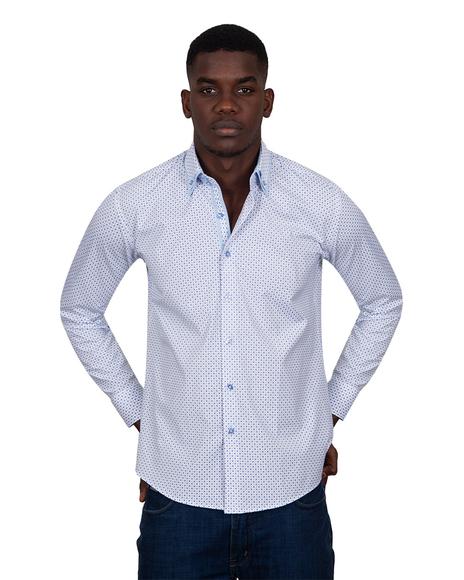 MAKROM - Luxury Printed Makrom Long Sleeved Double Collar Mens Shirt SL 6815