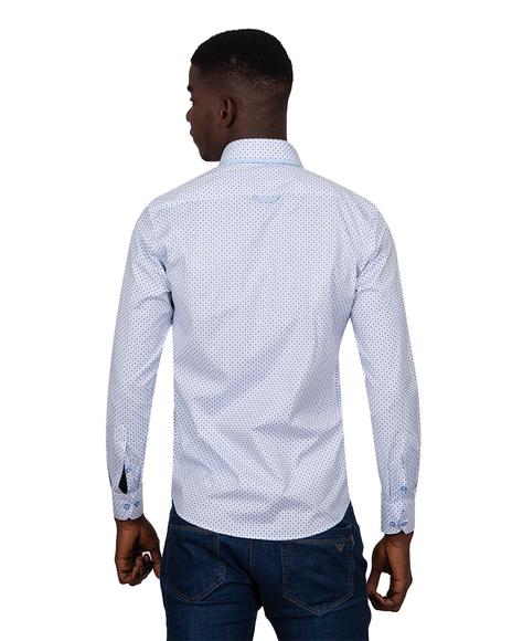 MAKROM - Luxury Printed Makrom Long Sleeved Double Collar Mens Shirt SL 6815 (1)