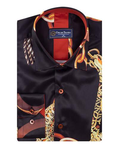Luxury Printed Mens Satin Shirt SL 7095