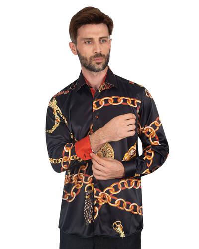 Oscar Banks - Luxury Printed Mens Satin Shirt SL 7095
