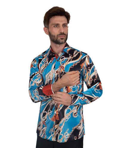 Oscar Banks - Luxury Printed Mens Satin Shirt SL 7096 (Thumbnail - )