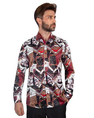 Oscar Banks - Luxury Printed Mens Satin Shirt SL 7096 (1)