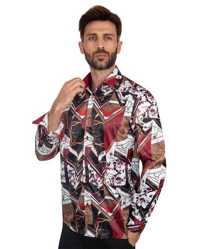 Oscar Banks - Luxury Printed Mens Satin Shirt SL 7096