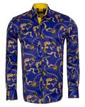 Luxury Printed Mens Satin Shirt SL 7104 - Thumbnail