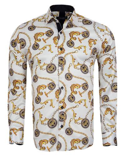 Oscar Banks - Luxury Printed Mens Satin Shirt SL 7104
