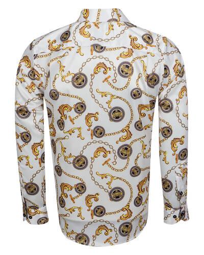 Oscar Banks - Luxury Printed Mens Satin Shirt SL 7104 (1)