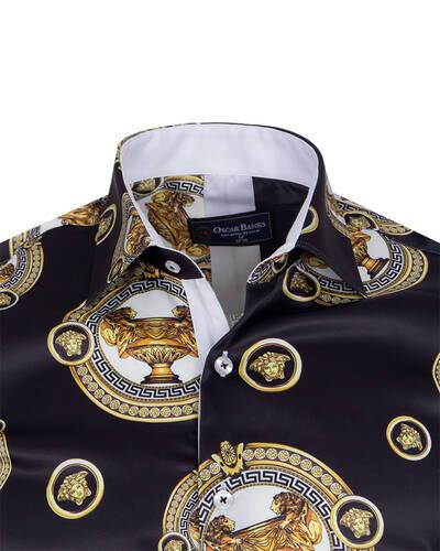 Luxury Printed Mens Satin Shirt SL 7105