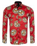 Luxury Printed Mens Satin Shirt SL 7105 - Thumbnail