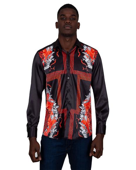 Luxury Printed Satin Mens Shirt SL 6831