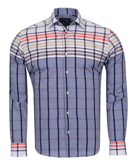 Oscar Banks - Luxury Pure Cotton Check Long Sleeved Mens Shirt SL 6764
