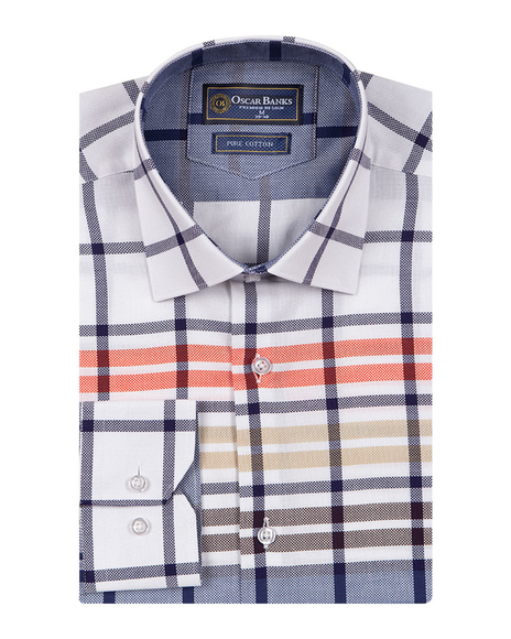 Oscar Banks - Luxury Pure Cotton Check Long Sleeved Mens Shirt SL 6764 (1)