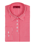 Luxury Red Check Pattern Printed Womens Shirt LL 3311 - Thumbnail