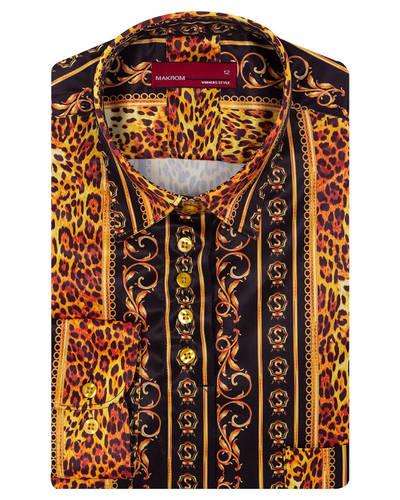 MAKROM - Luxury Satin Black Long Sleeved Womens Shirt LL 3322