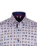 Luxury Short Sleeved Bus Printed Mens Shirt SS 6838 - Thumbnail