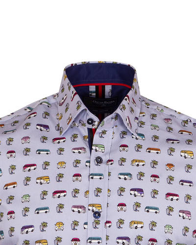 Luxury Short Sleeved Bus Printed Mens Shirt SS 6838