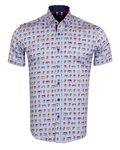 Luxury Short Sleeved Bus Printed Mens Shirt SS 6838 - Thumbnail