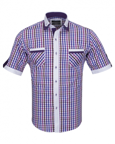 MAKROM - Luxury Short Sleeved Check Shirt With Chest Pocket SS 6042 (Thumbnail - )
