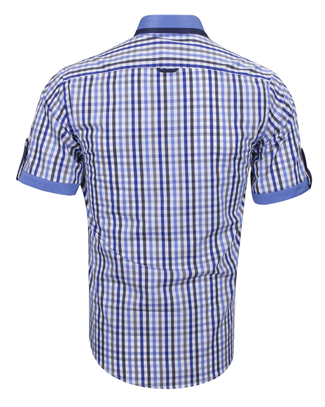 MAKROM - Luxury Short Sleeved Check Shirt With Chest Pocket SS 6042 (1)