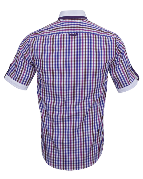 Luxury Short Sleeved Check Shirt With Chest Pocket SS 6042