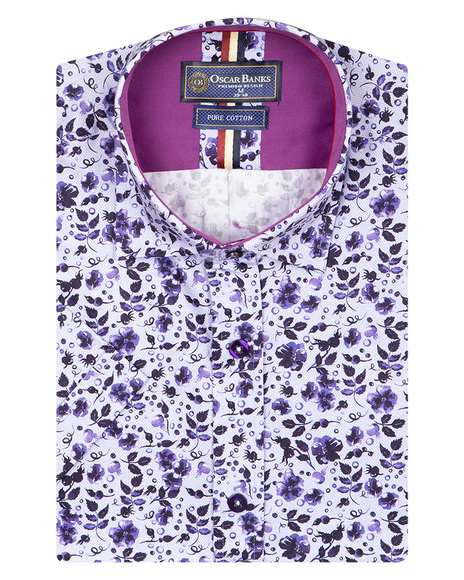 Oscar Banks - Luxury Short Sleeved Floral Printed Mens Shirt SS 6845 (1)