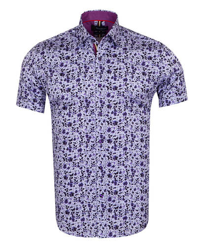 Oscar Banks - Luxury Short Sleeved Floral Printed Mens Shirt SS 6845