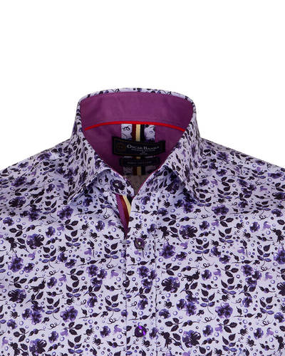 Luxury Short Sleeved Floral Printed Mens Shirt SS 6845