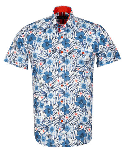 MAKROM - Luxury Short Sleeved Printed Mens Shirt SS 7054 (Thumbnail - )