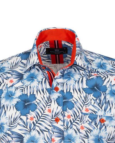 Luxury Short Sleeved Printed Mens Shirt SS 7054