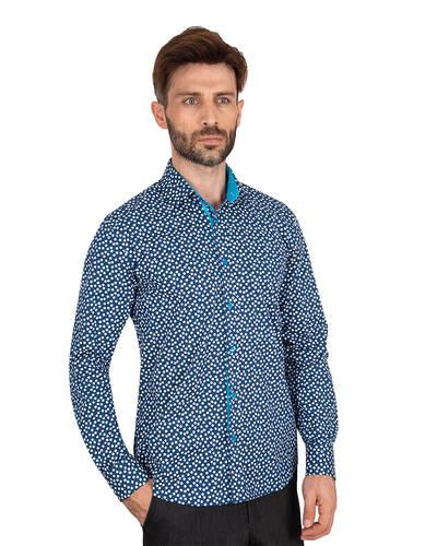 MAKROM - Luxury Snowflake Printed Long Sleeved Mens Shirt SL 7064