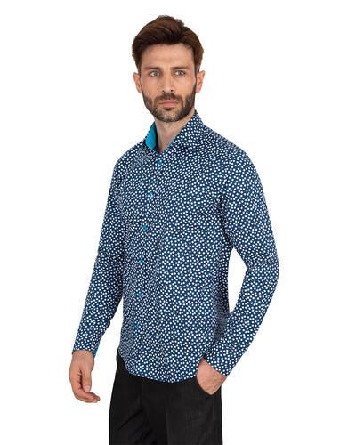 MAKROM - Luxury Snowflake Printed Long Sleeved Mens Shirt SL 7064 (1)