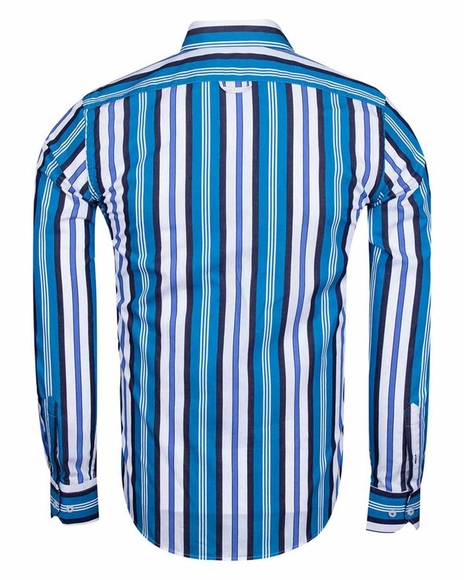 MAKROM - Luxury Striped Long Sleeved Mens Shirt SL 5405-A (1)