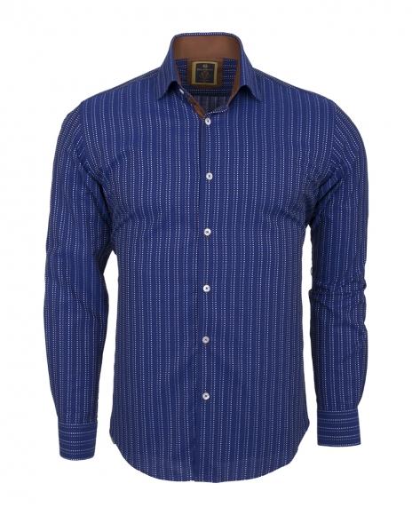 Oscar Banks - Luxury Striped Long Sleeved Mens Shirt SL 5973 (Thumbnail - )