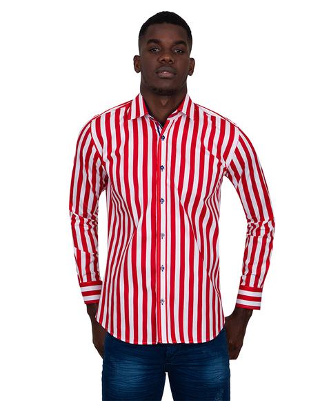 MAKROM - Luxury Striped Long Sleeved Mens Shirt SL 6804 (Thumbnail - )