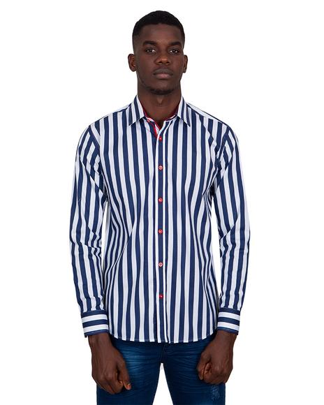 MAKROM - Luxury Striped Long Sleeved Mens Shirt SL 6804
