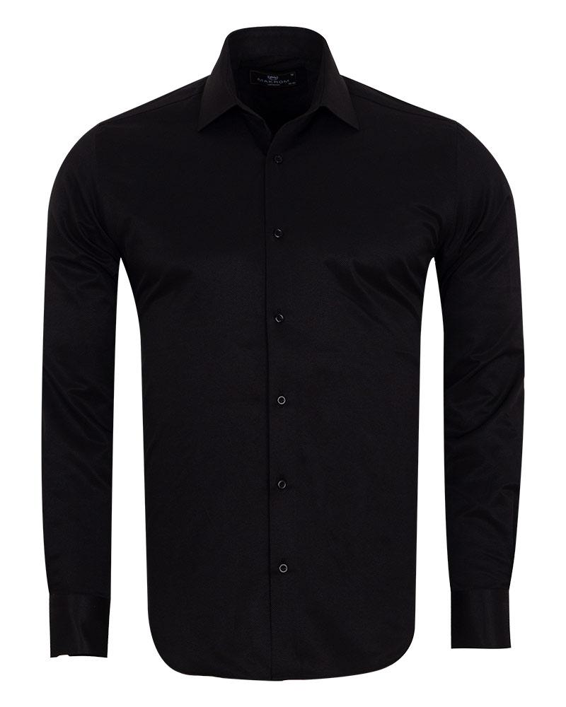 MAKROM - Luxury Striped Long Sleeved Shirt with Necktie Set SL 7120K (Thumbnail - )
