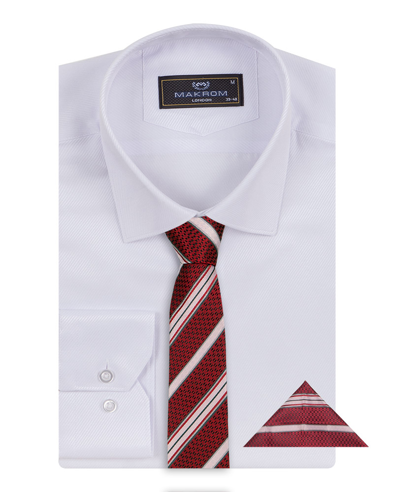 Luxury Striped Long Sleeved Shirt with Necktie Set SL 7120K