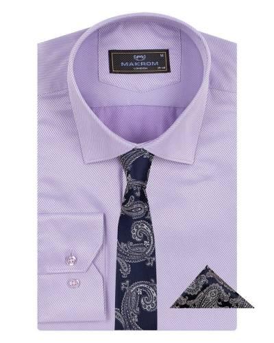 MAKROM - Luxury Striped Long Sleeved Shirt with Necktie Set SL 7120K