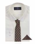Luxury Striped Long Sleeved Shirt with Necktie Set SL 7120K - Thumbnail