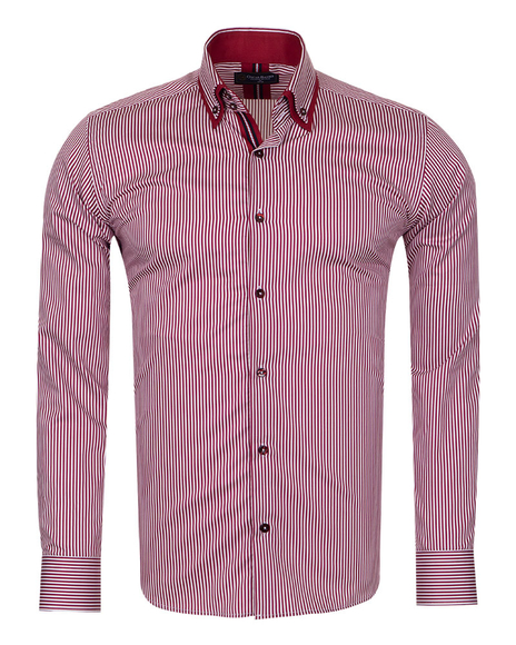 Oscar Banks - Luxury Striped Oscar Banks Double Collar Shirt SL 6758