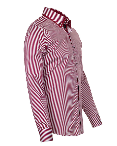 Luxury Striped Oscar Banks Double Collar Shirt SL 6758
