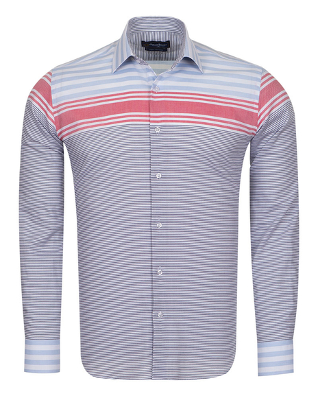 Oscar Banks - Luxury Textured Long Sleeved Mens Shirt SL 6763