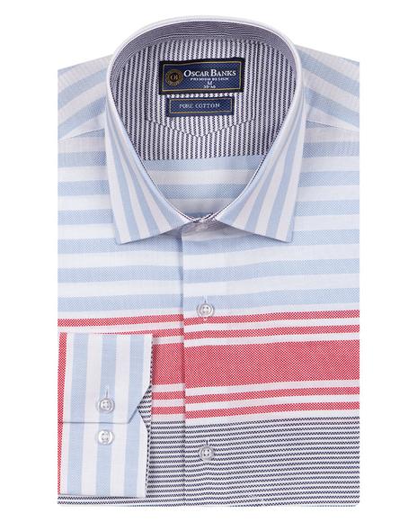 Oscar Banks - Luxury Textured Long Sleeved Mens Shirt SL 6763 (1)