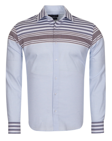 Oscar Banks - Luxury Textured Long Sleeved Mens Shirt SL 6763 (Thumbnail - )