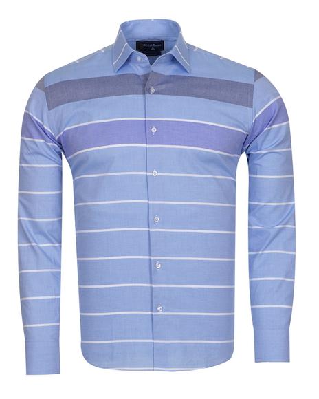 Oscar Banks - Luxury Textured Long Sleeved Mens Shirt SL 6765 (Thumbnail - )